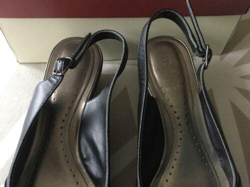 4 K 2 condizioni Peep Ladies 1 Wedge Black Shoes Toe Buone E Clarks taglia 1q4C8nxwq