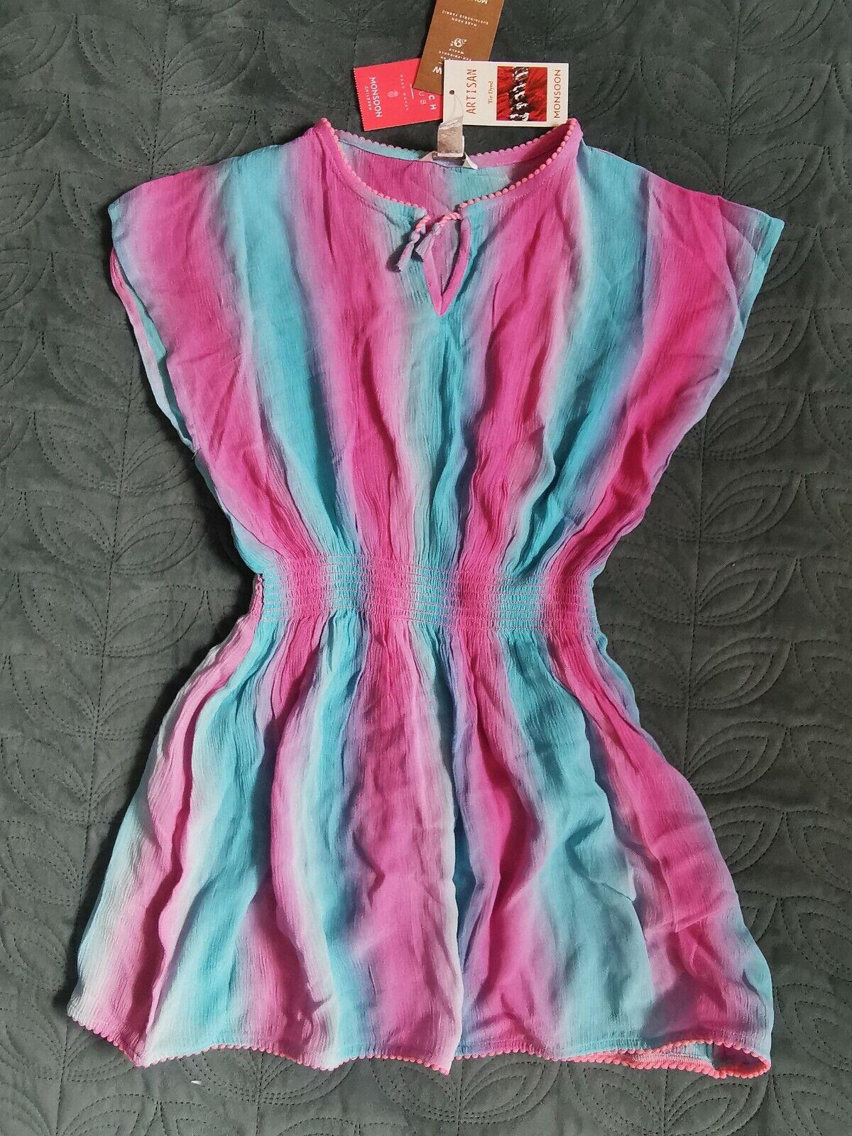 * 🏖️Monsoon Girl Kaftan Cover Up Dress 7-8 Pink Blue Ombre Tie Dyed swimwear
