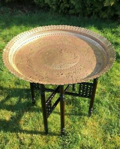 Image Is Loading Vintage Dark Wood Fold Up Table With Large