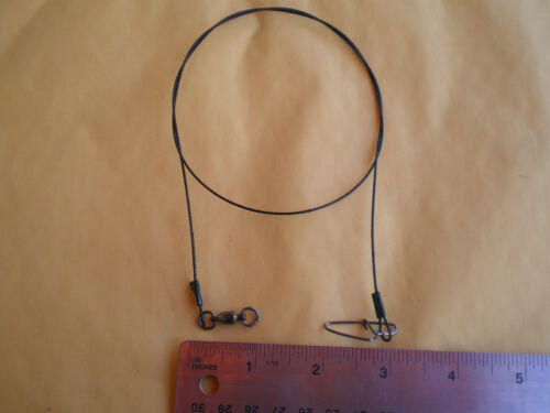 """15 STAINLESS STEEL WIRE SPINNER LEADER  12/"""" 100 LBS TEST W//BALL BEARING SWIVEL"""