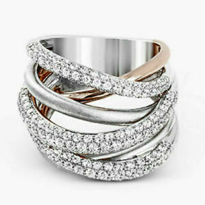 Fashion Two Tone 925 Silver Rings Women Jewelry White HOT SALE Ring Size 6-10,