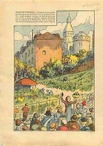 Vintage-Vendange-Vignoble-a-Montmartre-Ville-de-Paris-France-1937-ILLUSTRATION
