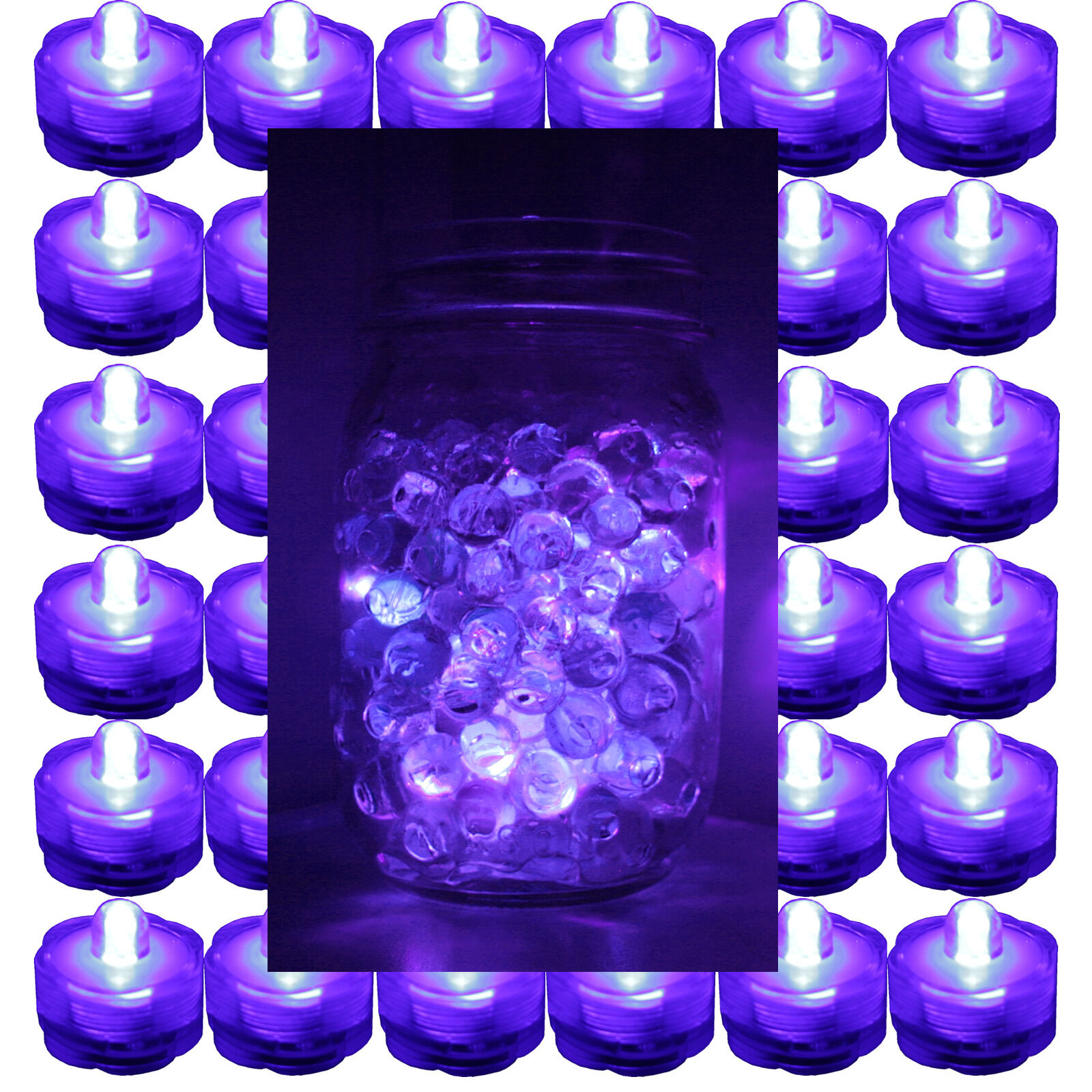 FREE SH  48 Purple Submersible Bright LED tea lightWaterproof