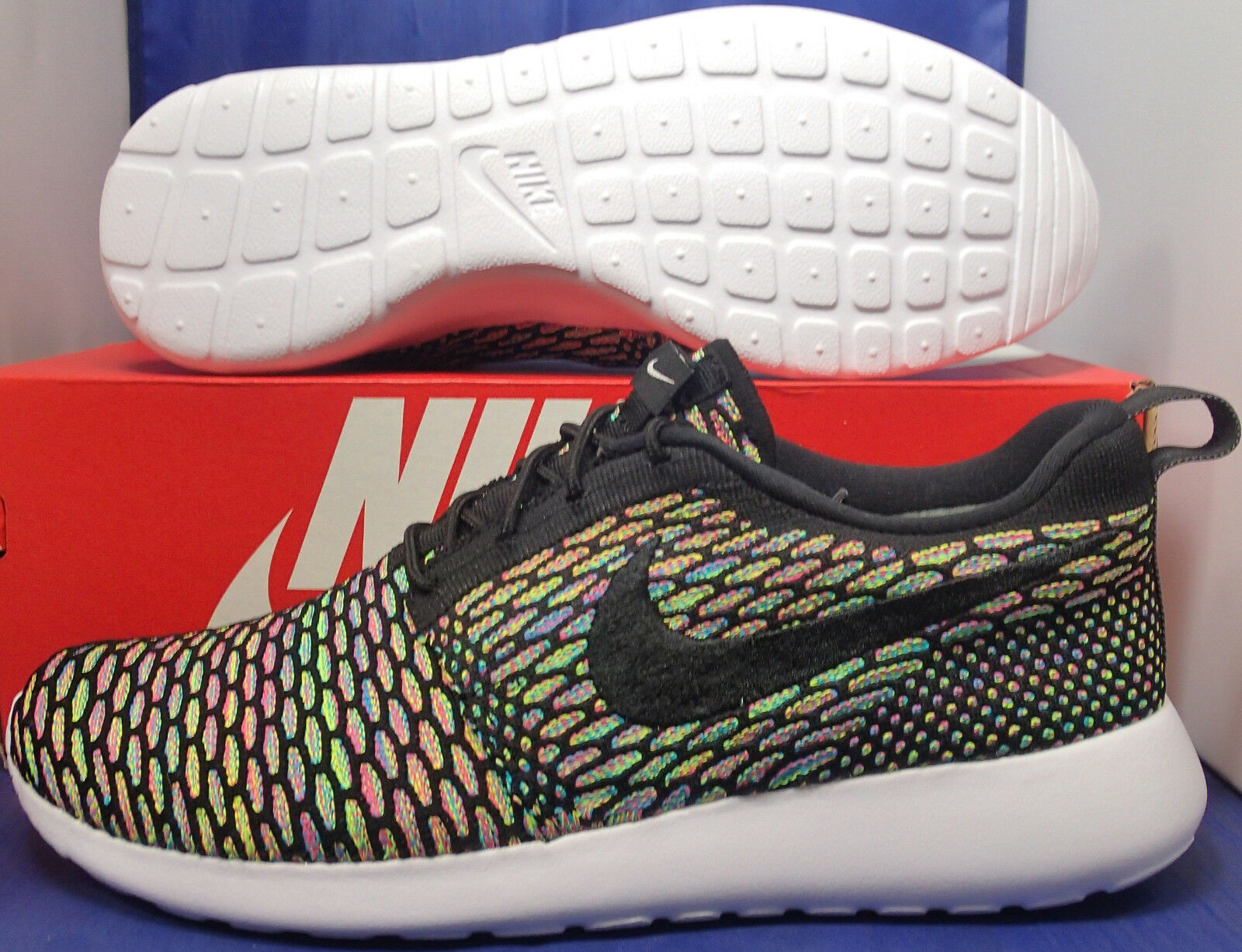low cost Nike Flyknit Roshe Run iD Multi Color Black SZ 10