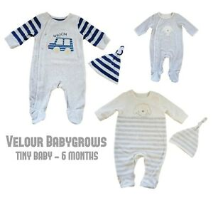 7f68a008d Details about Baby Unisex Boys Girls Velour Babygrow Sleepsuit & Matching  Hat Gift Mother/care