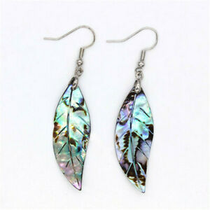 Natural-Abalone-Shell-Silver-Dangle-Tree-Leaf-Women-Earrings-Accessories-Gift