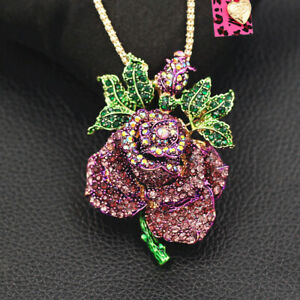 Betsey-Johnson-Crystal-Charm-Big-Rose-Flower-Pendant-Sweater-Necklace-Brooch-Pin