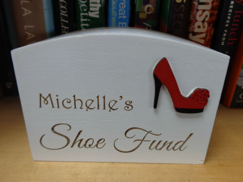 Shoe etc fund Personalised Wooden White Printed Money Box Baby Holiday