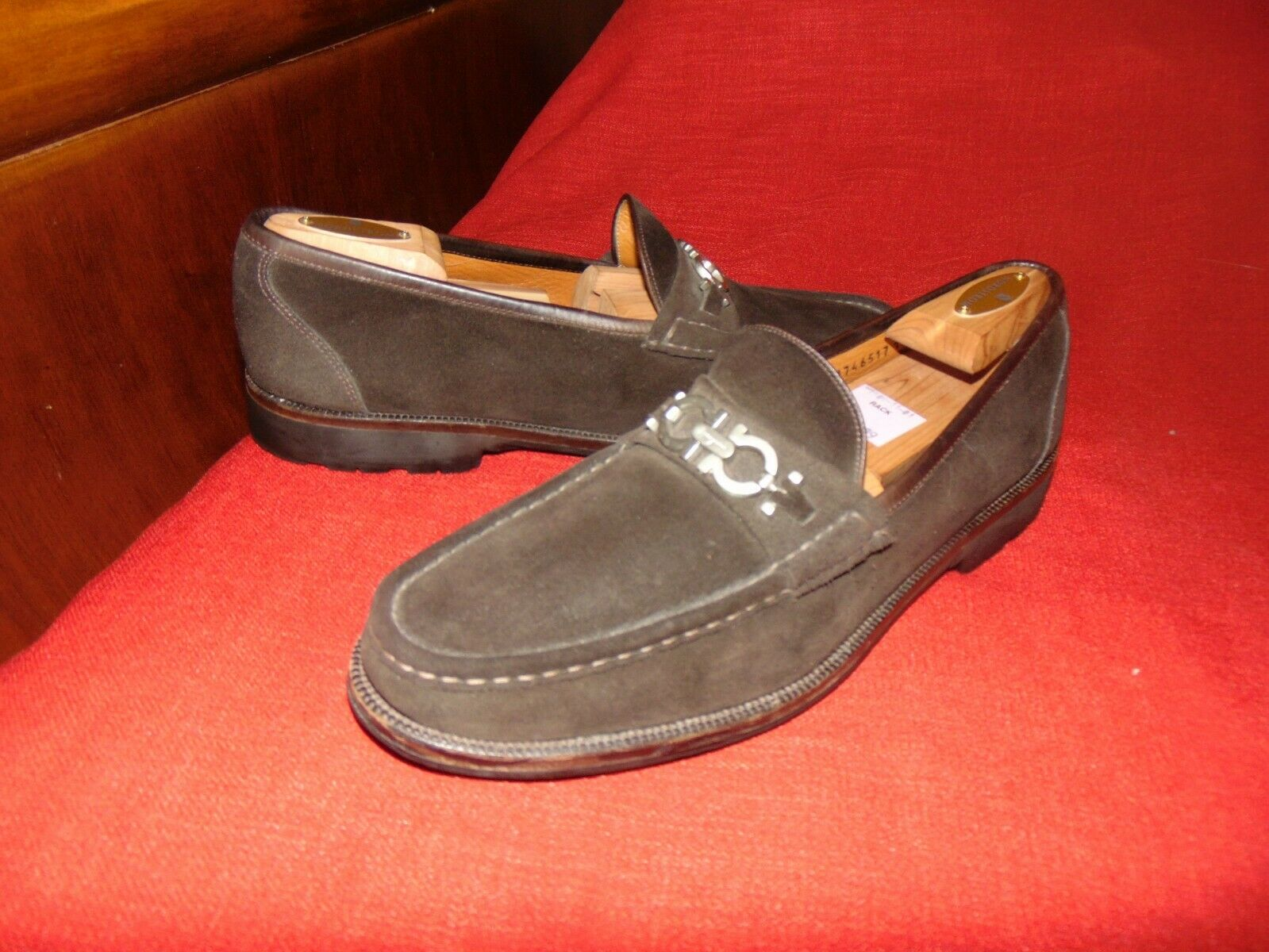 Classic Salvatore Ferragamo Brown Suede Calf Leather Diego Loafers shoes 12 D T