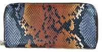 Kristine Accessories Zip Around Wallet Blue And Brown Faux Snake