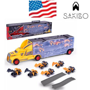 Kids-2-Sided-Transport-Car-Carrier-Semi-Truck-Toy-With-6-Cars-And-10-traffic-sig