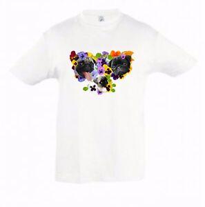 Pugs-in-Pansies-Kids-Dog-Themed-Tshirt-Childrens-Tee-Xmas-Birthday-Gift