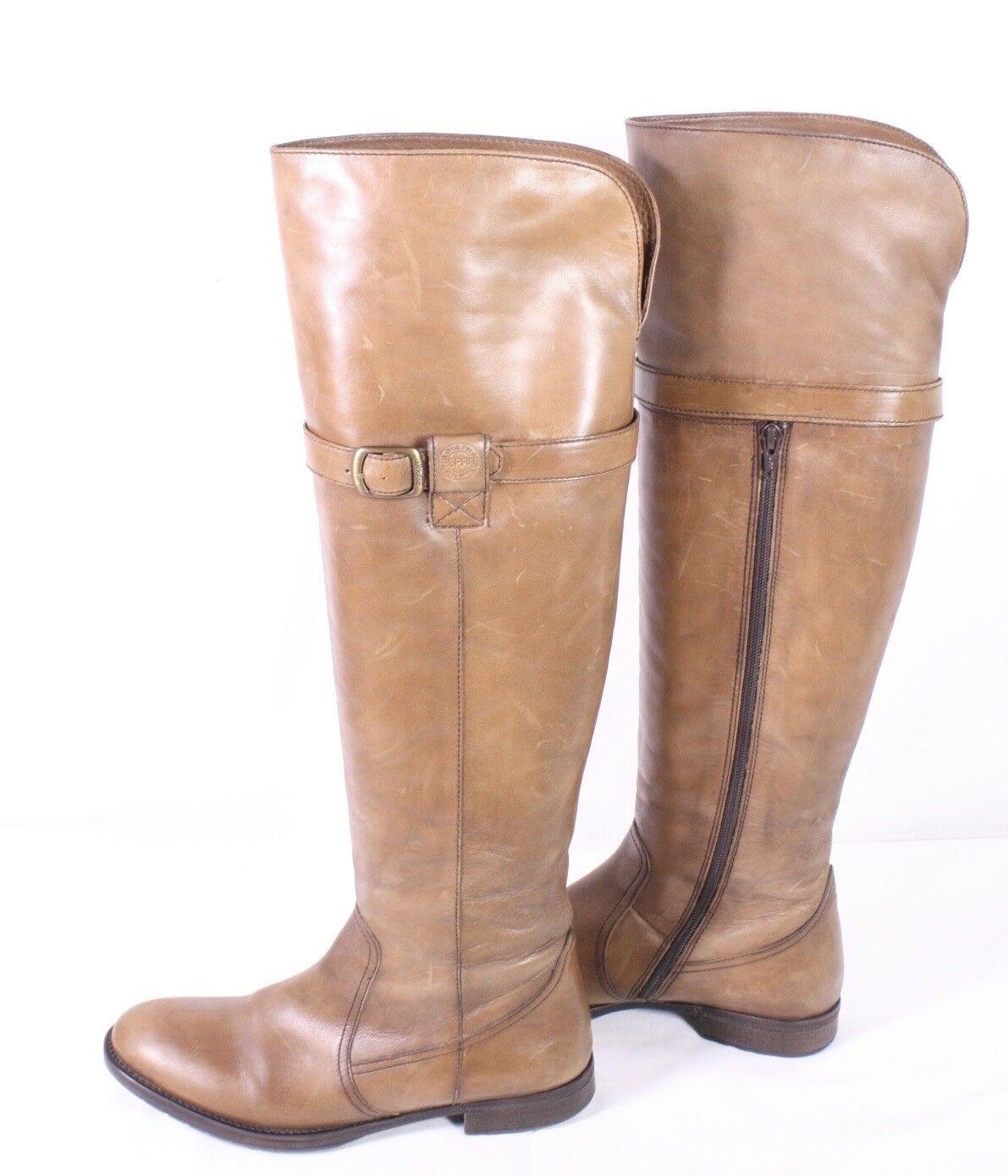 22s Esprit altas botas talla 39 tacón de cuero marrón jinete-Look plana