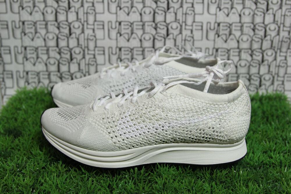 Nike Flyknit Triple White Goddess Cream Yeezy Racer 526628 100 Women 9,MEN 10.5