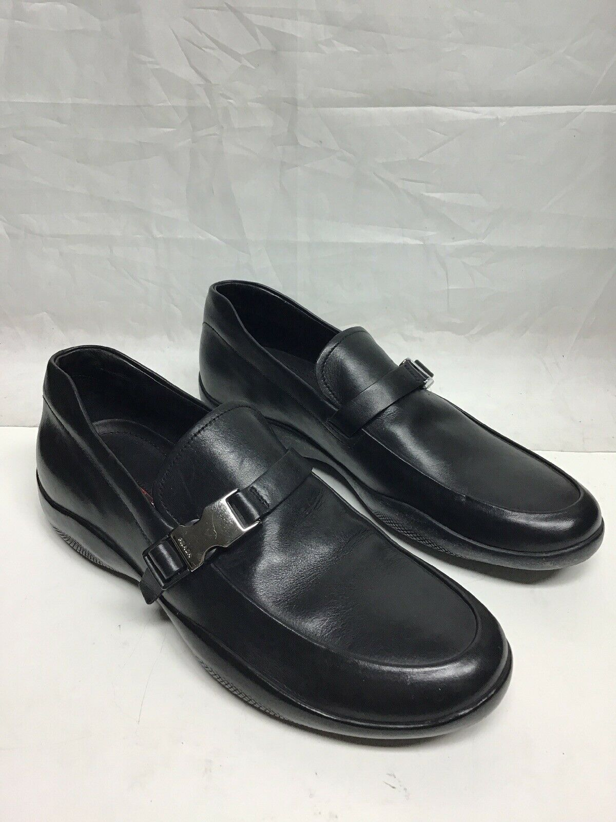 Prada nero Buckle Trimmed loafers 7 8US
