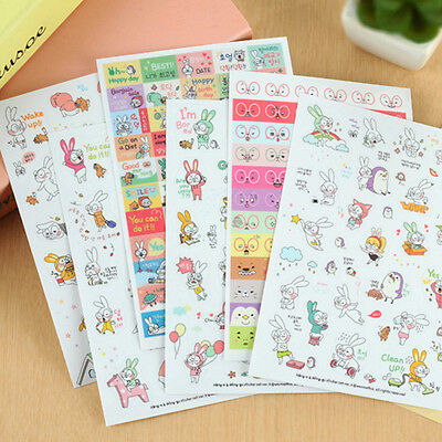 6 Sheets Rabbit Diary Book Sticker Scrapbook Calendar Notebook Label Decoration