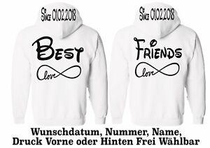 Hoodie Pullover Best Friends Motiv 2 Stück Partner Look Pärchen XS 5XL