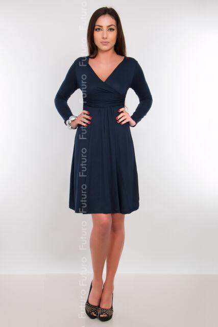 Womens Maternity Dress Tunic Long Sleeve V-Neck Stretchy FT1101