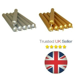 Xmas-Gold-amp-Silver-Dinner-Bistro-Candles-NON-DRIP-Tapered-Party-Church-UK-SELLER