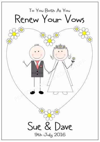 RENEW WEDDING VOWS PERSONALISED CARD CONGRATULATIONS ANY NAMES DATE MULTI