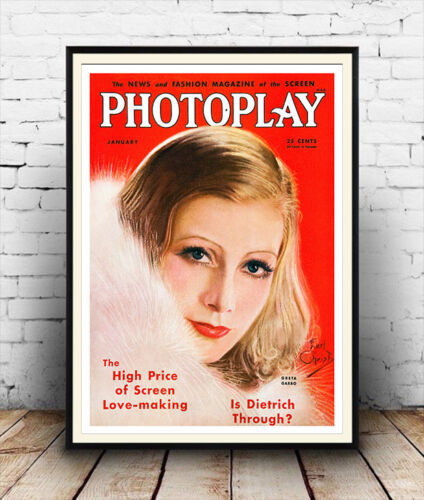 Vintage Hollywood movie magazine cover Poster reproduction. Photoplay 1933