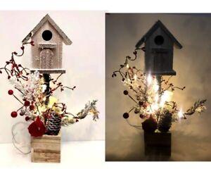 New 38cm Xmas House w Bird&Red Berry Pine Cone w Led Light Christmas Decor
