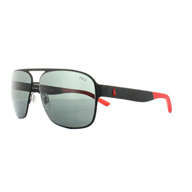 964f31f7724e Polo Ralph Lauren Aviator Sunglasses Matte Black Red Grey Lens 3105 ...