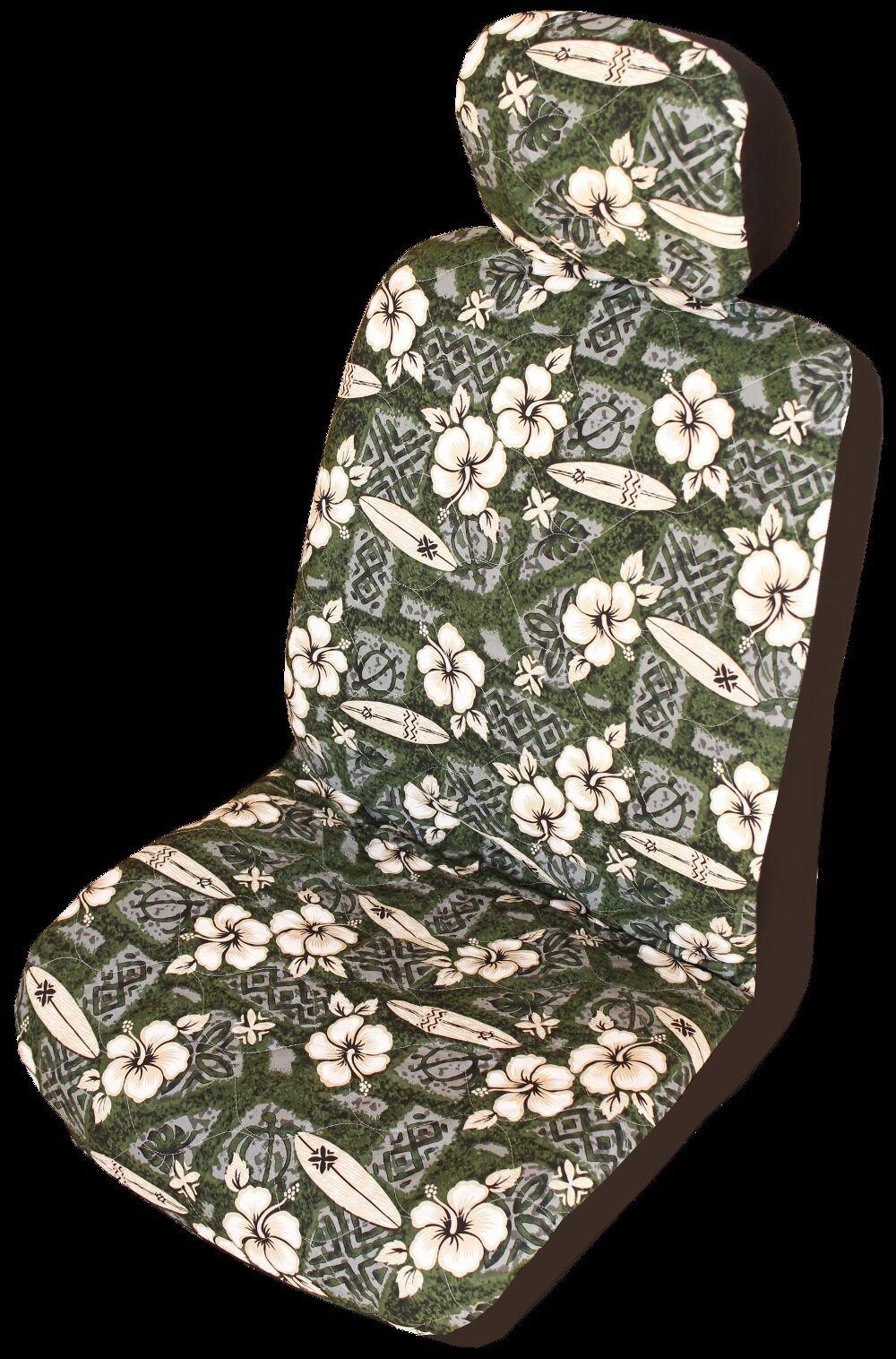 verde Hibiscus Surf Hawaiian Separate Headrest Cover