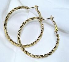 """Gold Round Hoop Earrings 14KGP Classic Twisted 1.5"""" Post Spring Back"""