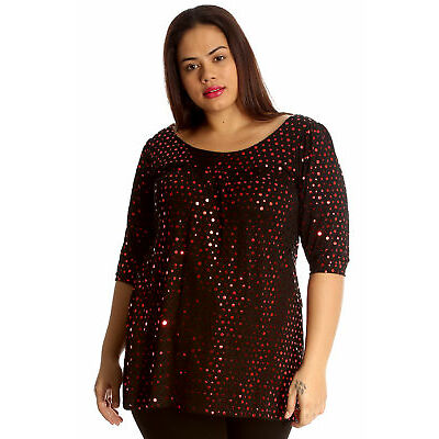 New Ladies Top Plus Size Womens Dot Foil Glitter Party Round Neck Shirt Nouvelle
