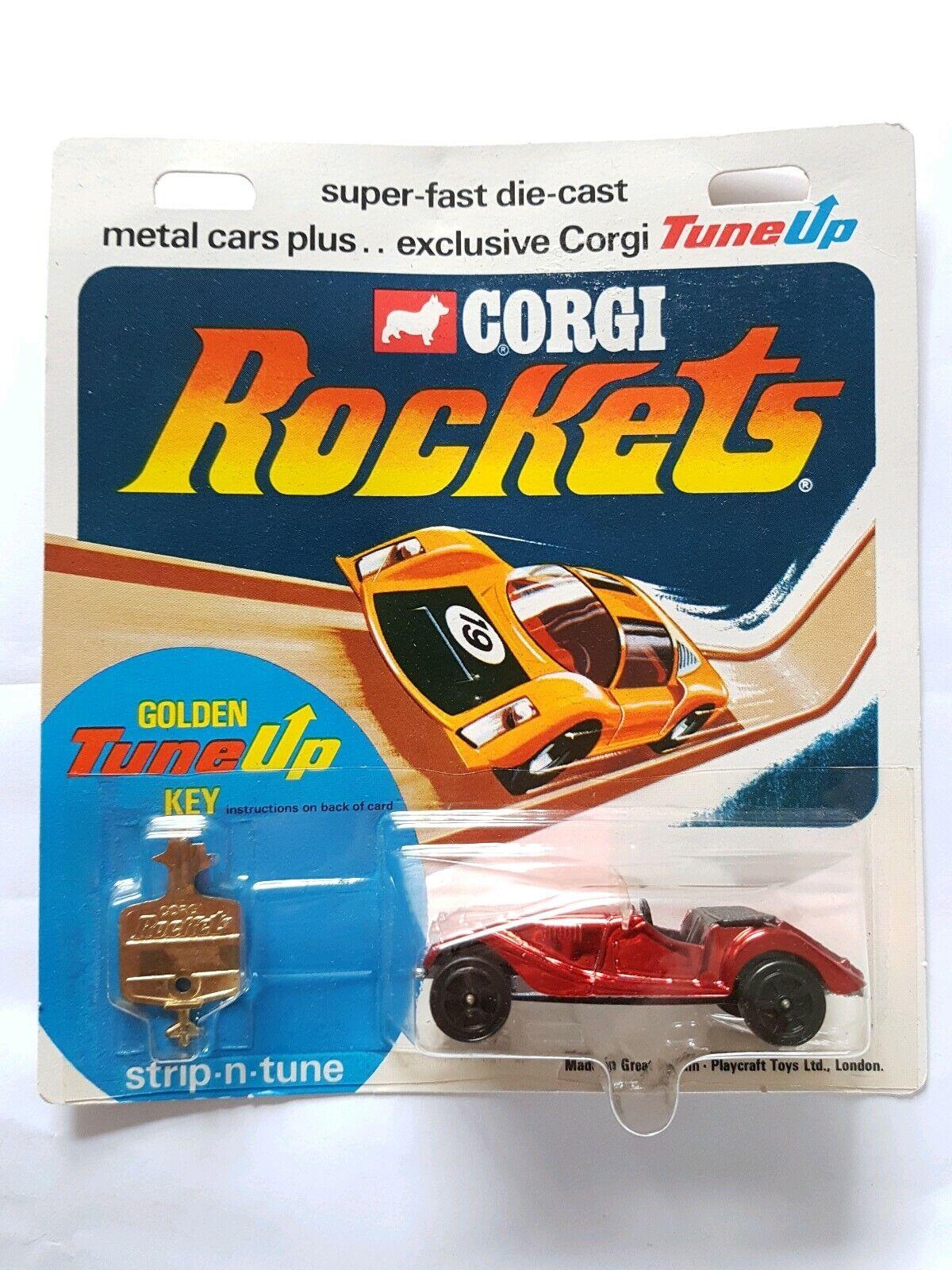 Corgi cohetes 921 Morgan Plus 8 rojo metálico tarjeta MOC-Limpio + Burbuja Raro