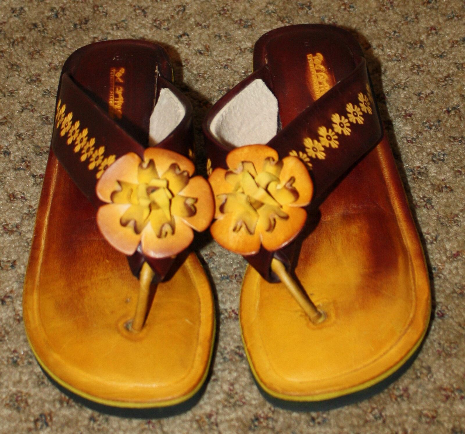 TED ARTHUR Burgundy gold Leather Sandals Tooled Flower NWOB 6