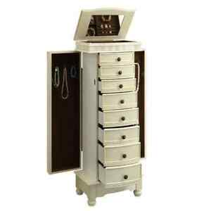 Details About Jewelry Armoire Chest White Cream Wood Box Tall Storage  Cabinet Stand Organizer