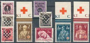 Croatie-Lot-Avec-9-valeurs-O