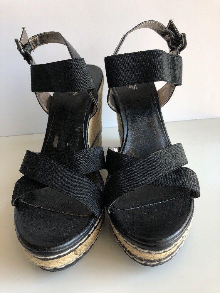 Charles by Charles David THRICE Sandals Fabric Strap Platform Wedge Sandals THRICE Black Sz 9.5 4b107e