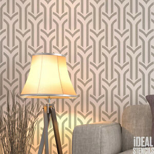 Image Is Loading Art Deco Wall Painting Stencil Arches Pattern Home