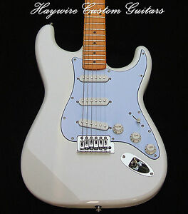 White Fender Strat Guitar+Warmoth Option+SRV Pickups+Treble Bleed+ ...