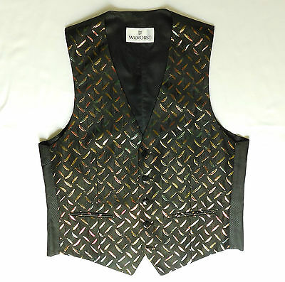Wilvorst black German waistcoat Metallic brocade Mens tuxedo vest XS S M NEW