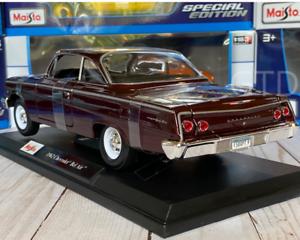 Clasico-1962-Chevrolet-Bel-Air-1-18-Maisto-escala-Diecast-Modelo-Coleccionable-Coche