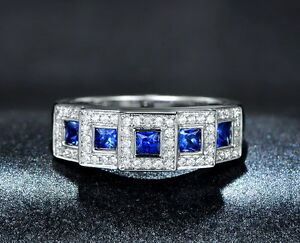Solid-14K-WHITE-GOLD-Certified-Natural-Blue-Sapphire-Diamond-Engagement-Ring