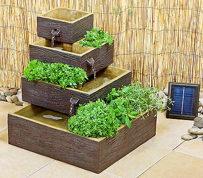 Square 4 Tiered Solar Water Feature Cascade Fountain Planter Wood Effect Garden