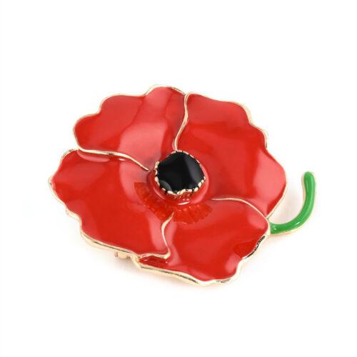Hot Enamel Red Poppy Flower Brooch Pin Broach Jewelry Remembrance Gifts Women cn