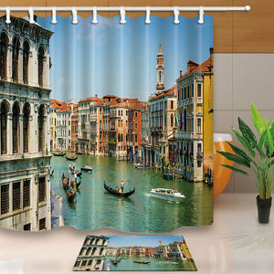 Details About City Venice Canal Landscape Italian Landmark Polyester Fabric Shower Curtain Set