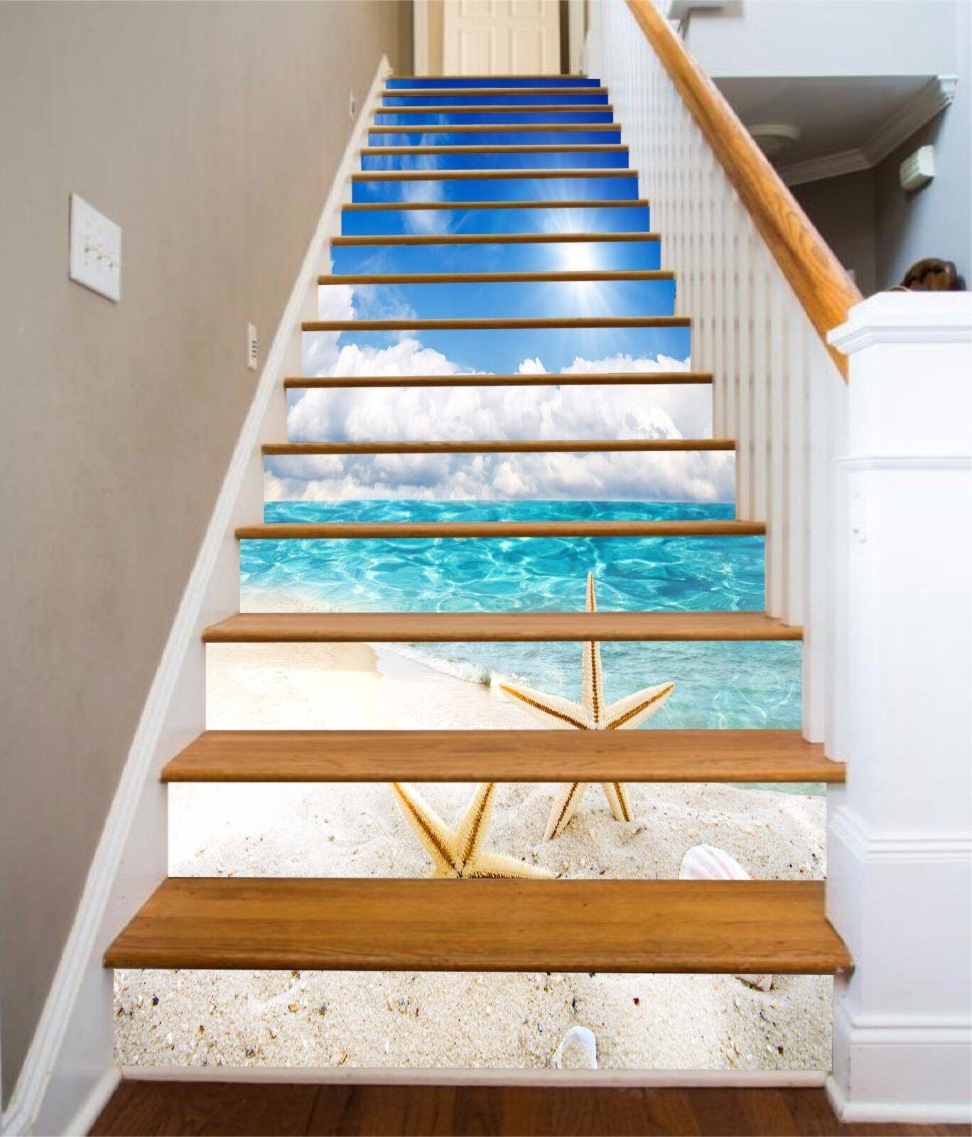 3D Starfish Beach Stairs Risers Decoration Photo Mural Vinyl Decal WandPapier US