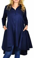 Women's Hi Low Button Down A Line Swing Dress Shirt Top Reg And Plus Size Navy