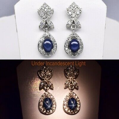 7x5mm Dark Blue Natural 6 Ray Star-Sapphire Earring in 925 Sterling Silver