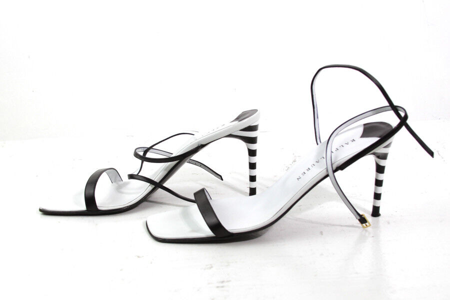 CLASSIC BLACK / HIGH Weiß RALPH LAUREN STRAPPY HIGH / HEEL SANDALS SIZE US B 10 03b2d0