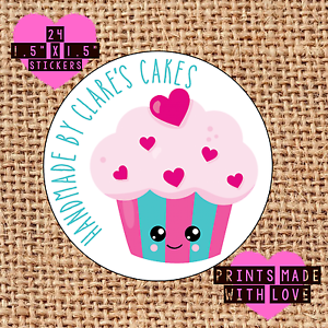 Cupcake Labels//Handmade by Autocollants//24//cute kawaii//Personnalisé