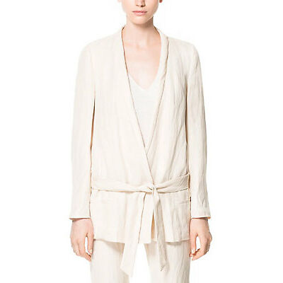 *NEW* Zara Ivory Blush Long Linen Collarless Tie Front Blazer Jacket. S M L NWT