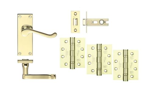 Victorian Scroll Polished Brass Handle Latch Set for 44mm Fire Doors C//w Hinges